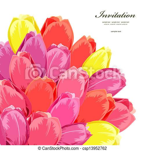 花束, チューリップ, デザイン, 隔離された, あなたの - csp13952762