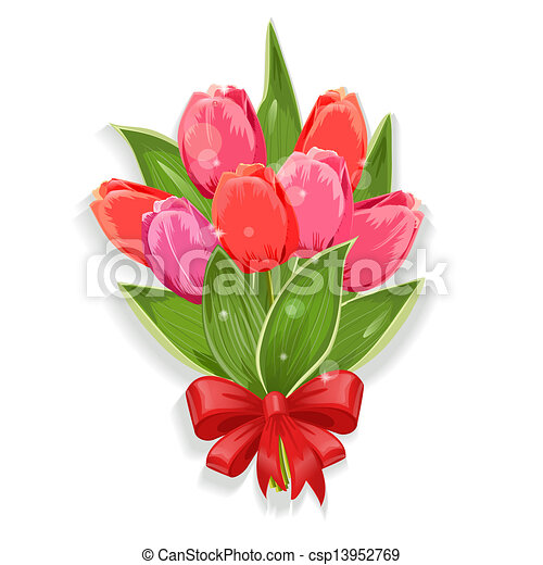 花束, チューリップ, デザイン, 隔離された, あなたの - csp13952769