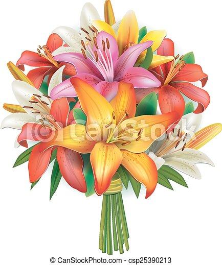花束, ユリ - csp25390213