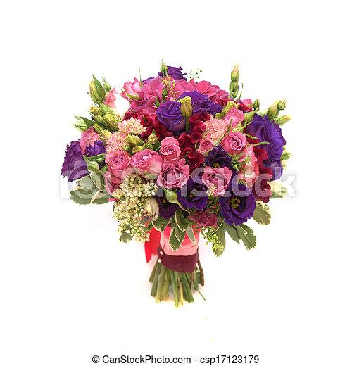 花束, 白い背景, カラフルである, 結婚式 - csp17123179