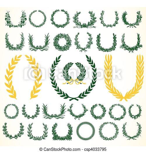 花輪, ベクトル, laural, 勝利 - csp4033795