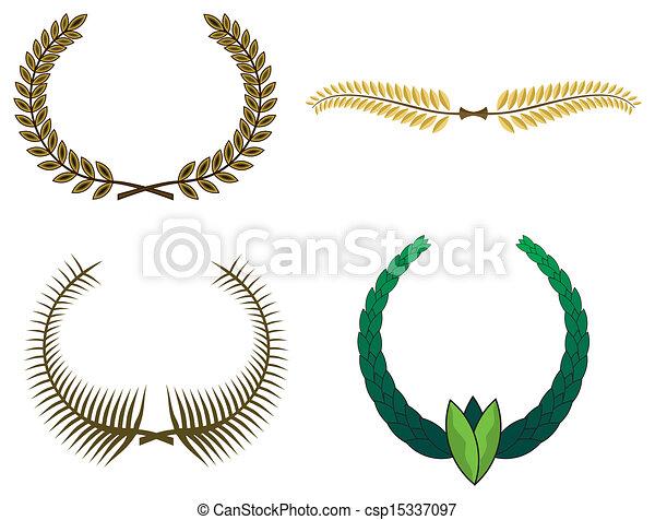 花輪, 月桂樹, デザインを設定しなさい - csp15337097