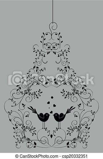 花, おりの 鳥, 鉄, 細工された - csp20332351