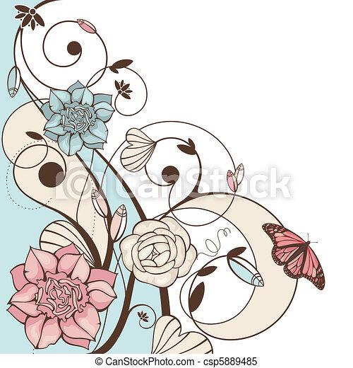 花 かわいい ベクトル イラスト 蝶 かわいい 抽象的 イラスト