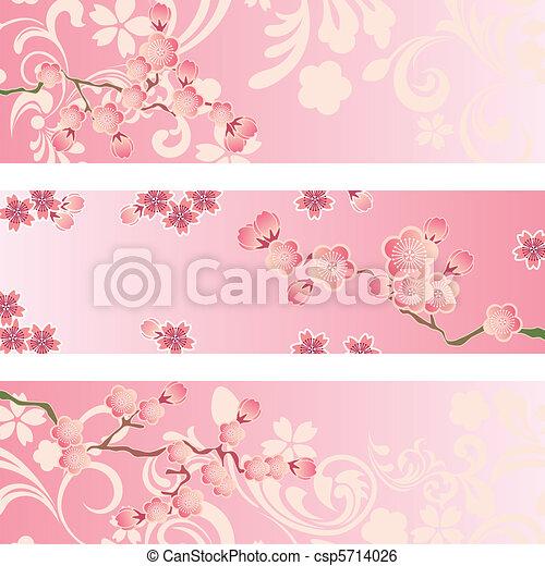 花, さくらんぼ, セット, 旗 - csp5714026