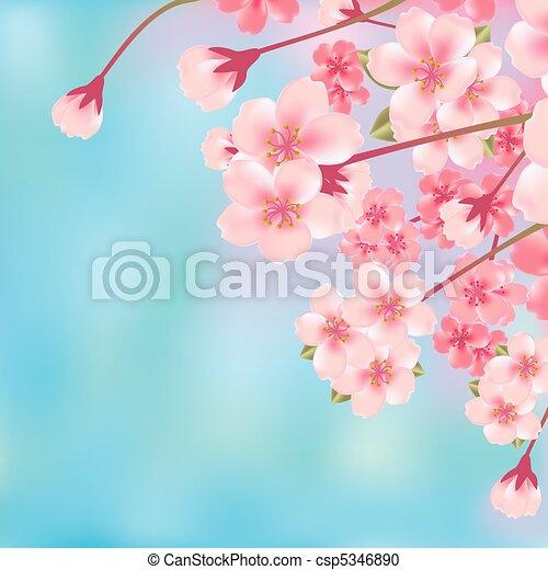 花, さくらんぼ, 抽象的 - csp5346890