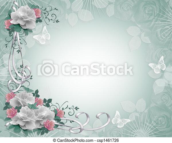 花, ばら, ボーダー, 招待 - csp1461726