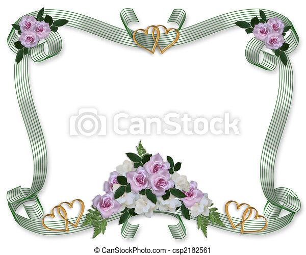 花, ばら, 結婚式, ボーダー, 招待 - csp2182561