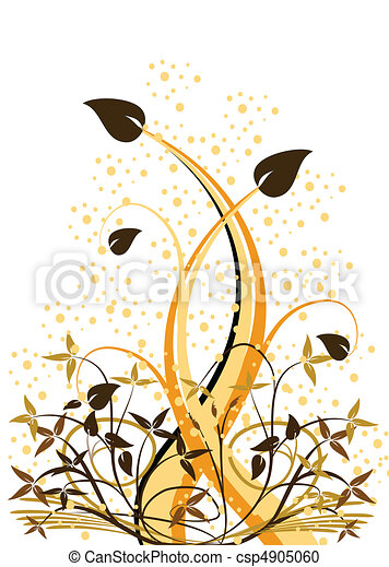花, オレンジ, 抽象的, ベクトル, ilustration - csp4905060