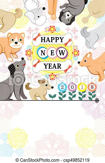 花, カラフルである, 犬, 2018, 年, 新しい, 幸せ - csp49852119