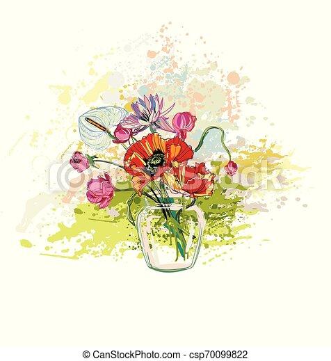 花, カラフルである, 花束, つぼ, ガラス, ベクトル, 背景 - csp70099822