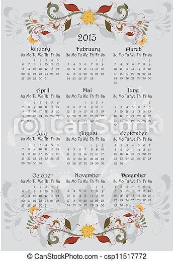 花, カレンダー, 2013 - csp11517772