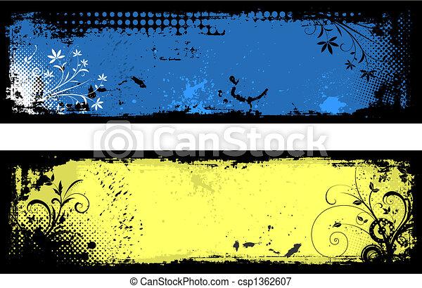 花, グランジ, 背景 - csp1362607