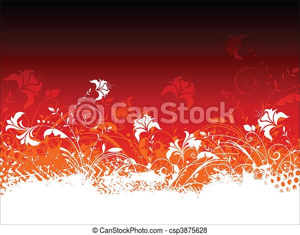 花, グランジ, 背景 - csp3875628