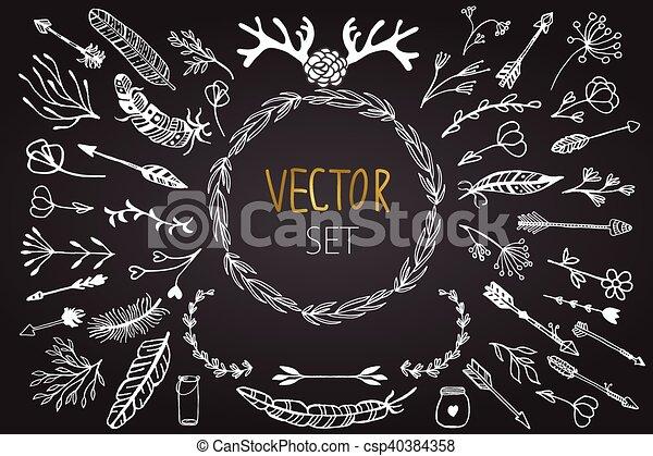花, セット, elements., ベクトル, 型 - csp40384358