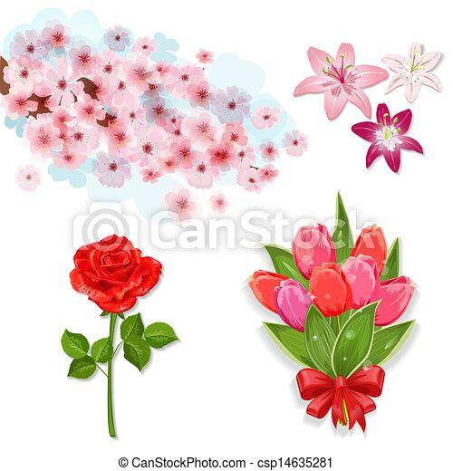 花, デザインを設定しなさい, 隔離された, あなたの - csp14635281
