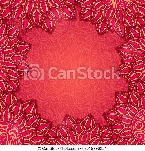花, フレーム, 赤 - csp19796251