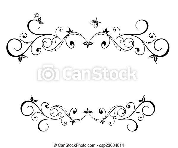 花, フレーム, 黒, 結婚式 - csp23604814