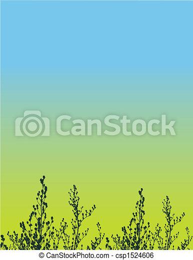 花, ベクトル, グランジ, 背景 - csp1524606