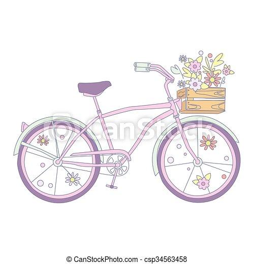 花 ベクトル 自転車 イラスト かわいい 自転車 パステル イラスト