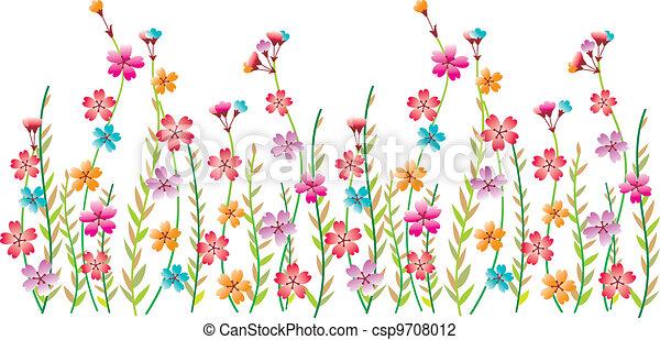 花, ボーダー, 空想 - csp9708012