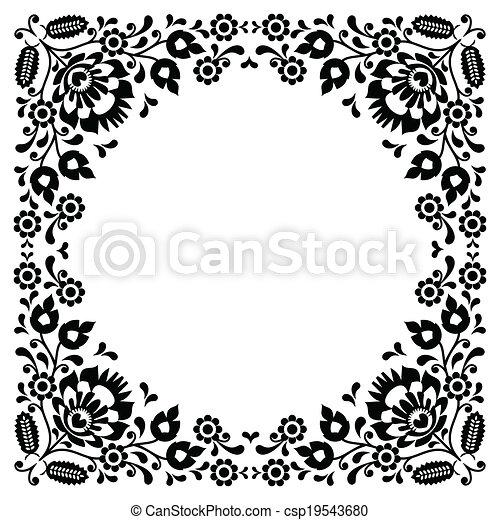 花, ポーランド語, 黒, 人々, 刺繍 - csp19543680