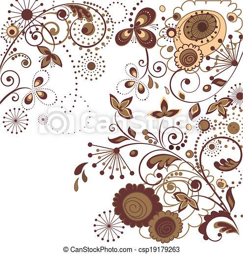 花, レトロ, カード - csp19179263