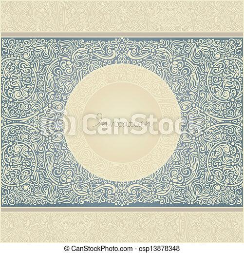 花, レトロ, カード, 招待 - csp13878348