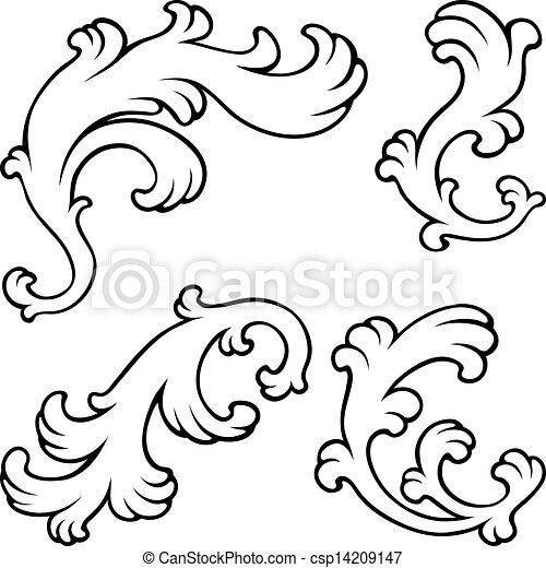 花, 型, デザイン, elements. - csp14209147