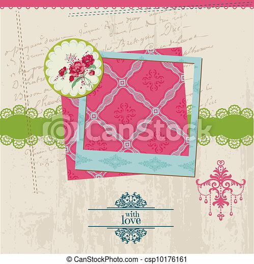 花, 型, フレーム, -, ベクトル, デザイン, カード, 写真, スクラップブック, 要素 - csp10176161