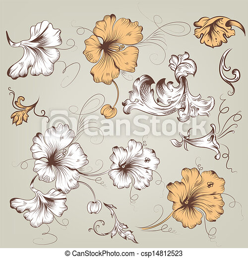 花, 型, ベクトル, コレクション - csp14812523