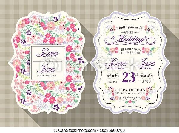 花, 型, 結婚式, テンプレート, 招待, カード - csp35600760
