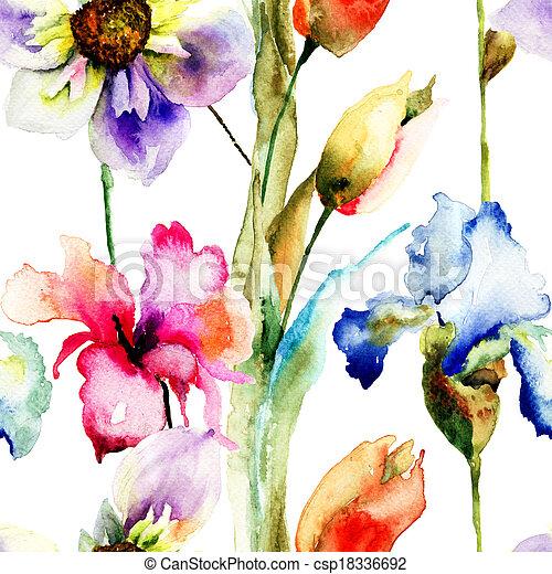 花, 壁紙, seamless, 野生 - csp18336692