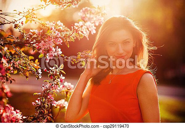 花, 女, 美しい - csp29119470