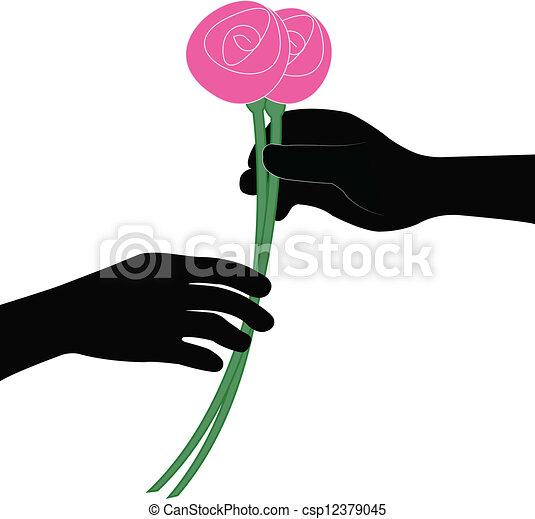 花, 手, ベクトル, 寄付 - csp12379045