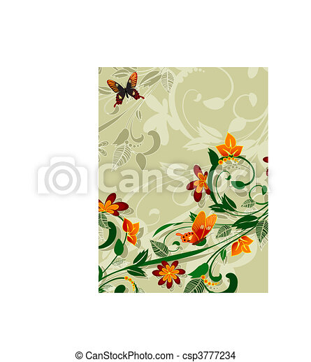 花, 抽象的なデザイン, 蝶 - csp3777234