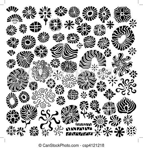 花, 抽象的, 要素, デザイン, vectors - csp4121218