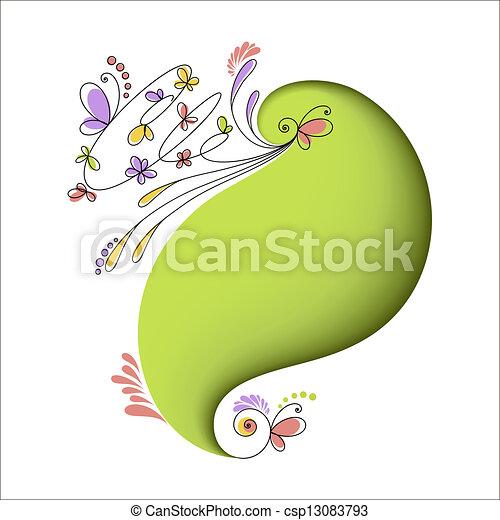 花, 抽象的, 要素, 緑の背景 - csp13083793