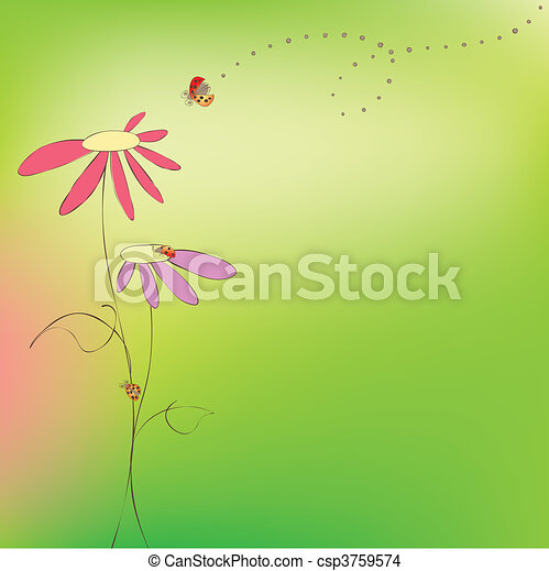 花, 春, 夏, カード, テントウムシ - csp3759574