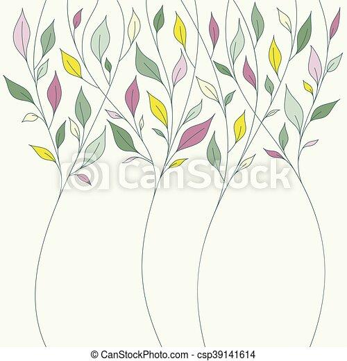 花, 春, 葉, デザイン, 新たに - csp39141614