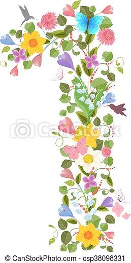 花, 春, 飛行, consisting, 華やか, 壷, hummingb - csp38098331
