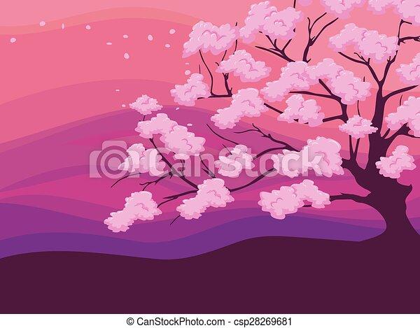 花 桜の木 フルである カラフルである 桜の木 イラスト 背景 花 花