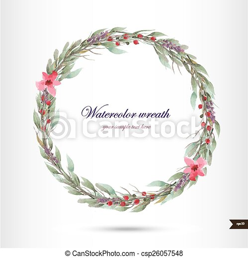 花, 水彩画, 花輪 - csp26057548