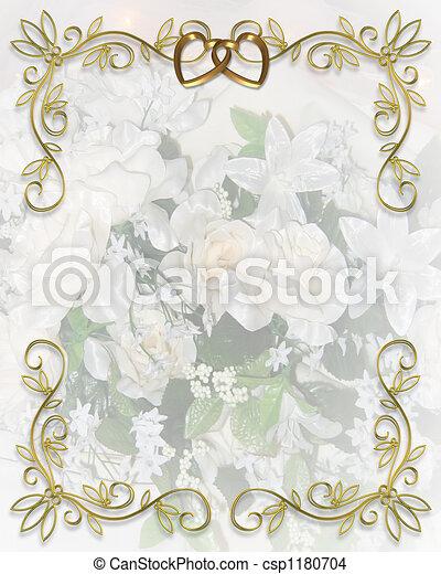 花, 結婚式の招待 - csp1180704