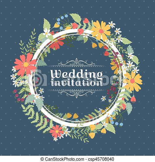 花, 結婚式の招待 - csp45708040