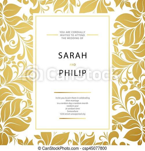花, 結婚式, カード, 招待 - csp45077800