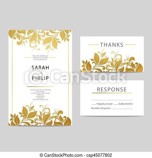 花, 結婚式, カード, 招待 - csp45077802