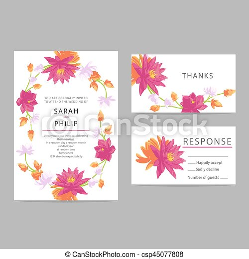 花, 結婚式, カード, 招待 - csp45077808