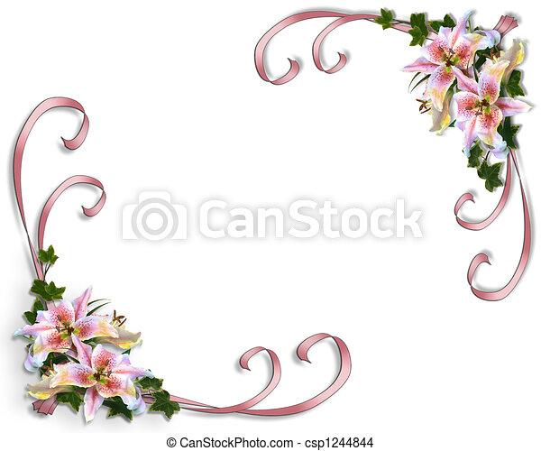 花, 結婚式, ユリ, 招待 - csp1244844