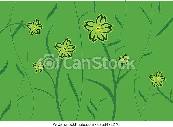 花, 緑の背景, 招待, カード, デザイン, ∥あるいは∥ - csp3473270